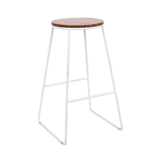 High Stool Industrial White w/ Natural Top