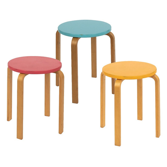 Low Stool Pine w/ Coloured Top