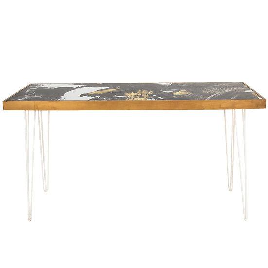 Tapas Table Pattern Top, Oak Frame w/ White Hair Pin Legs