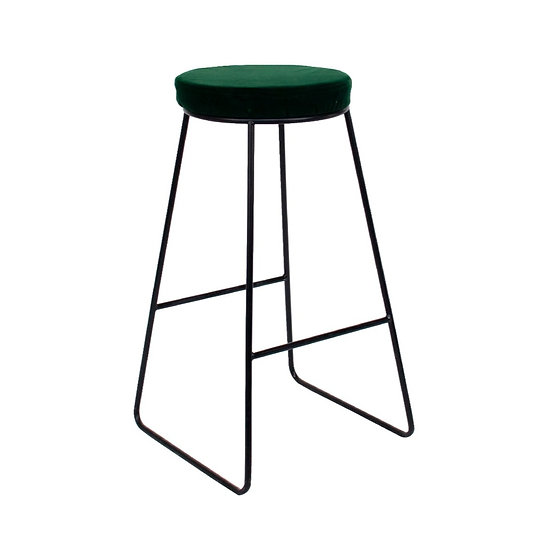 High Stool Industrial White w/ Green Velvet Top