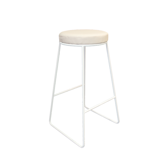 High Stool Industrial White w/ Cream Leather Top