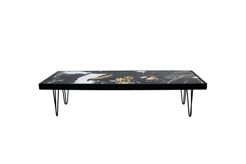 Coffee Table Pattern, Black Frame w/ Black Hair Pin Legs