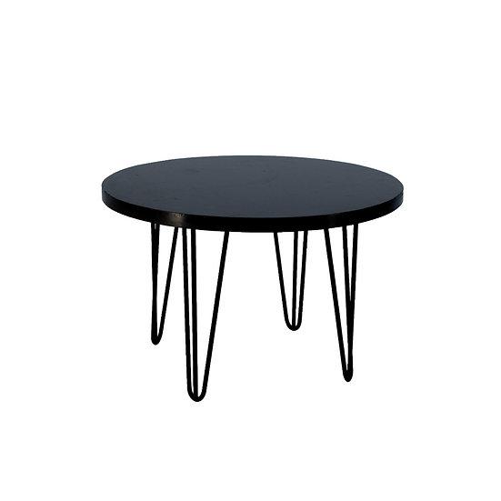 Coffee Table Black Round w/ Black Hair Pin Legs