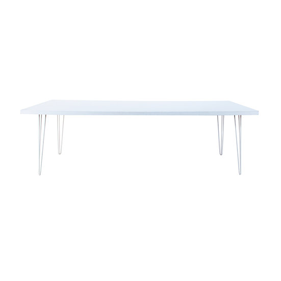 Dining Table White Feasting w/ White Hair Pin Legs