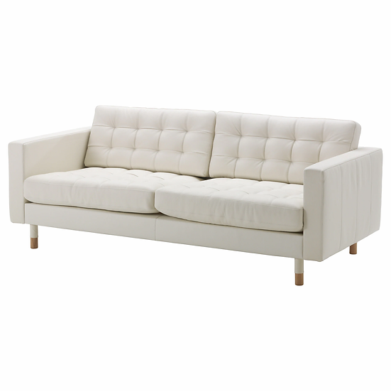 Lounge White Leather 3 Seater