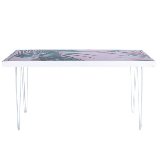 Tapas Table Pink Palm Print Top, White Frame w/ White Hair Pin Legs
