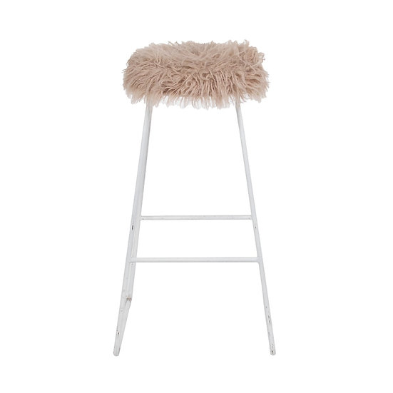 High Stool Industrial White w/ Pink Faux Fur Top