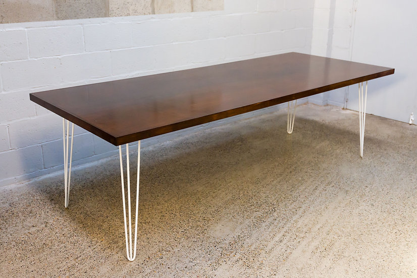 Dining Table Mahogany w/ White Hair Pin Legs