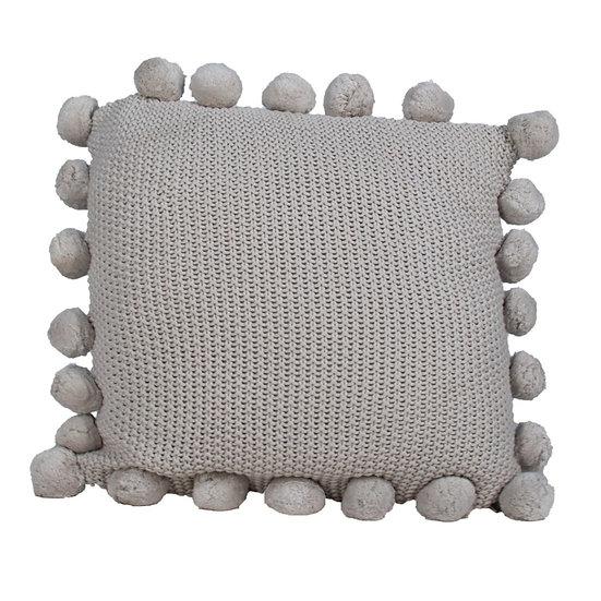 Cushion Light Grey Knit w/ Pom Poms