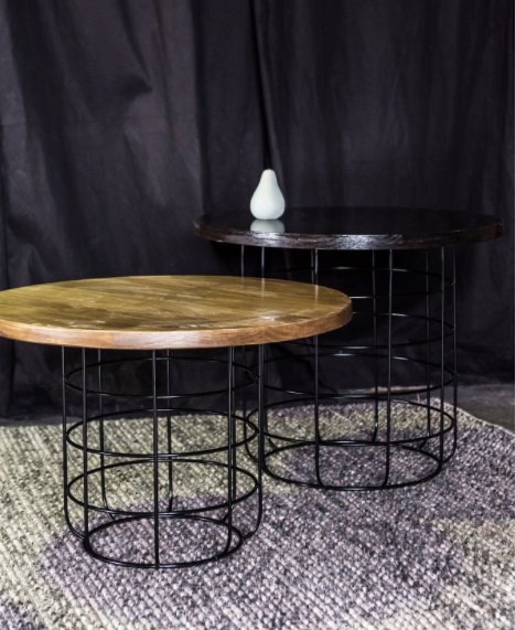 Black Oak Round Coffee Table: Coffee Table Oak Round W/ Black Wire Base