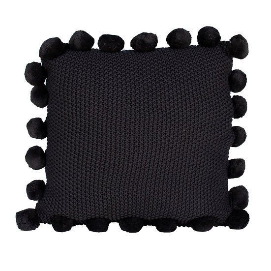 Cushion Dark Grey Knit w/ Pom Poms