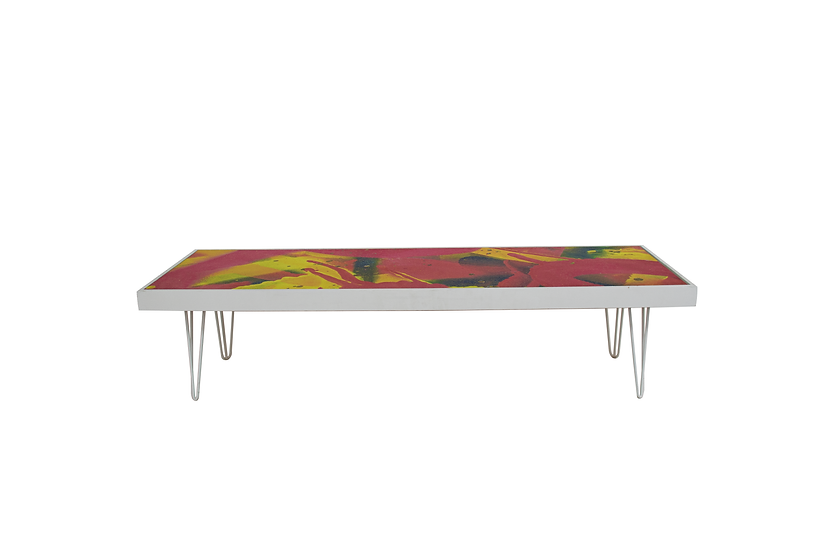 Coffee Table Graffiti, White Frame w/ White Hair Pin Legs