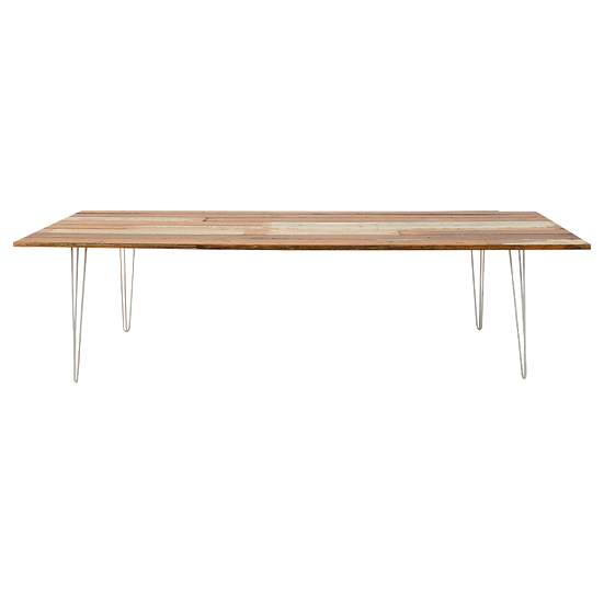 Dining Table Timber w/ White Hair Pin Legs