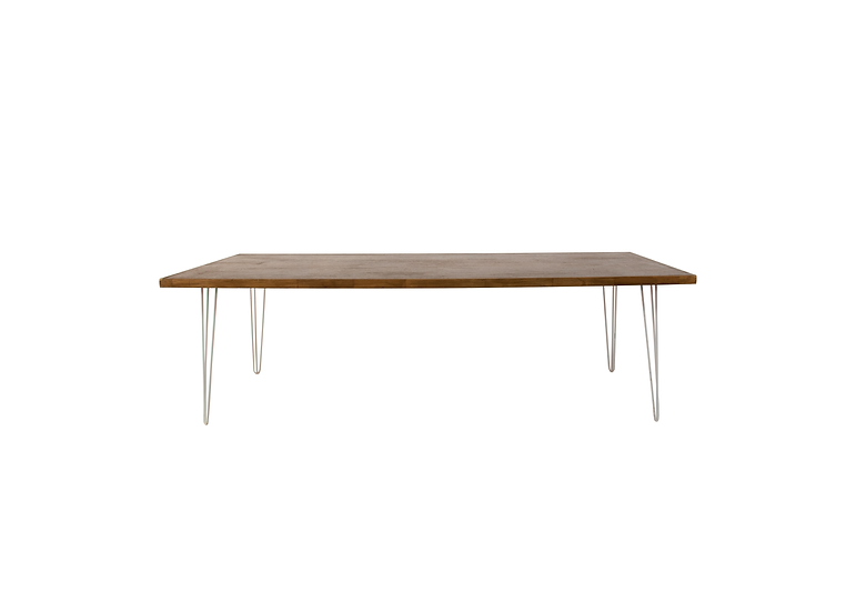 Dining Table Oak Feasting w/ White Hair Pin Legs