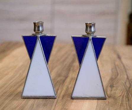 Shabbath Kerzenhalter - Glas mit Bleifassung