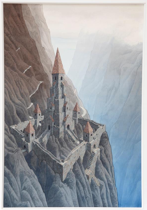 Love this-Peter Schmidt: Mandala Castle - Mountains, watercolour, 1979