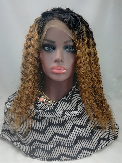 Stella:  100% Human hair 1b/27 Ombre Deep Curl Brazilian lace front wig