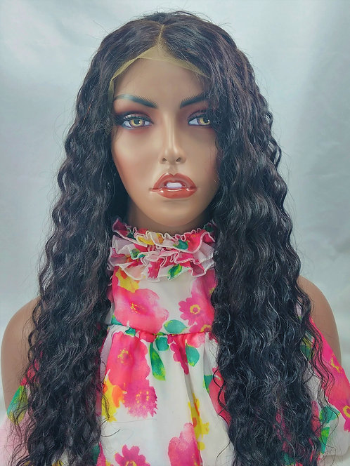 Melanie : 100% Human hair Loose Curl Brazilian lace front wig with baby hairs
