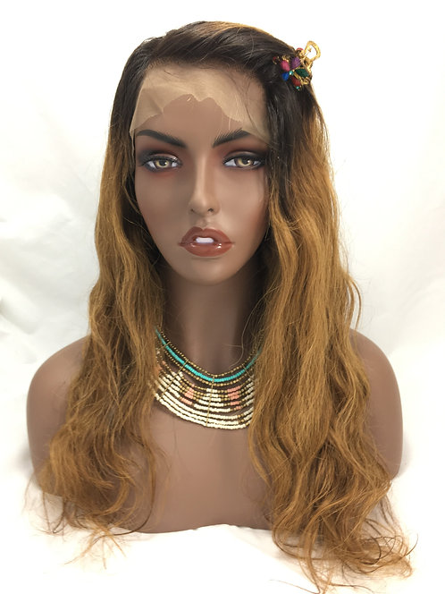 Kandice: 100% Human Hair Lace Front Wig Ombre Loose Wave Texture in 1b/30
