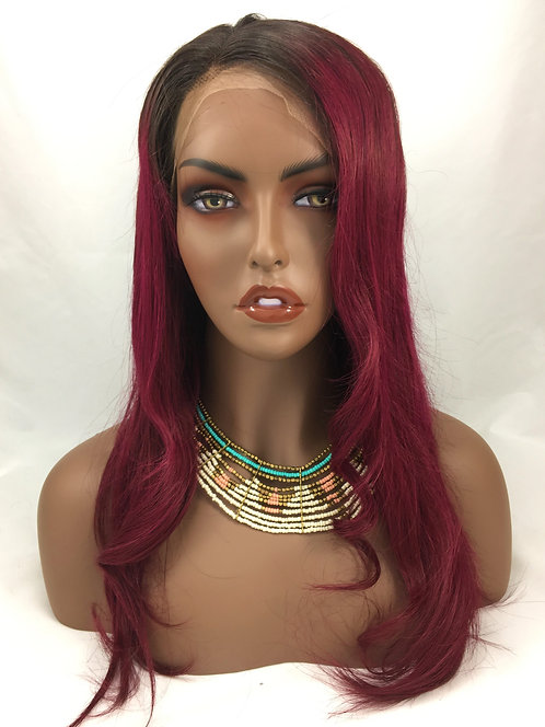 Amber: 100% Human Hair Straight Burgundy Ombre Brazilian Lace Front Wig
