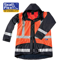 Seal Flex Hi Vis Orange Blue Breathable Rain Jacket