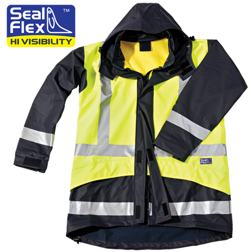 Hi Vis yellow blue rain jacket breathable