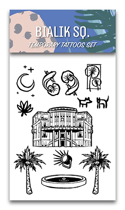 Bialik Sq. Temporary Tattoos Set