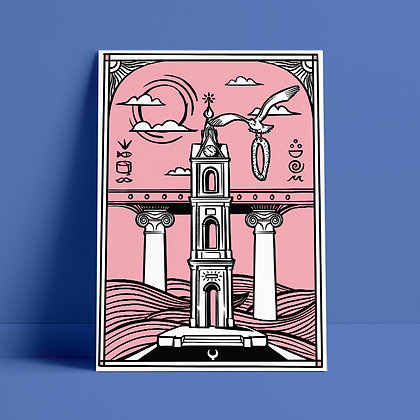 Jaffa's Clock Tower In pink
