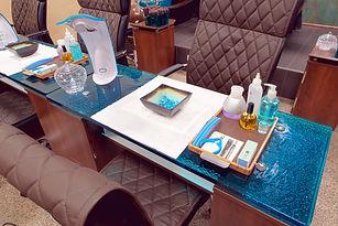 Orchid Spa Bermuda manicure acrylic desk