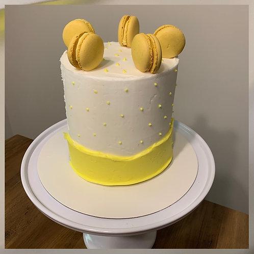 Buttercream and macrons cake
