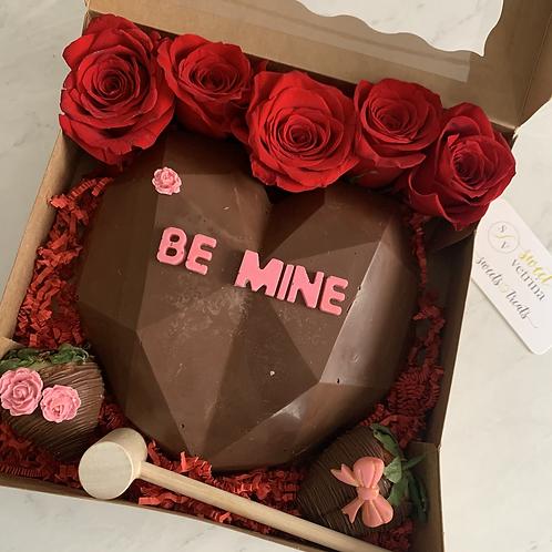 Be Mine Chocolate Smash Cake + Roses