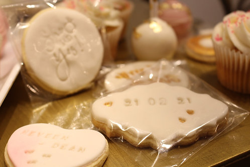 Personalized wedding/bridal sugar cookies (set of 6)