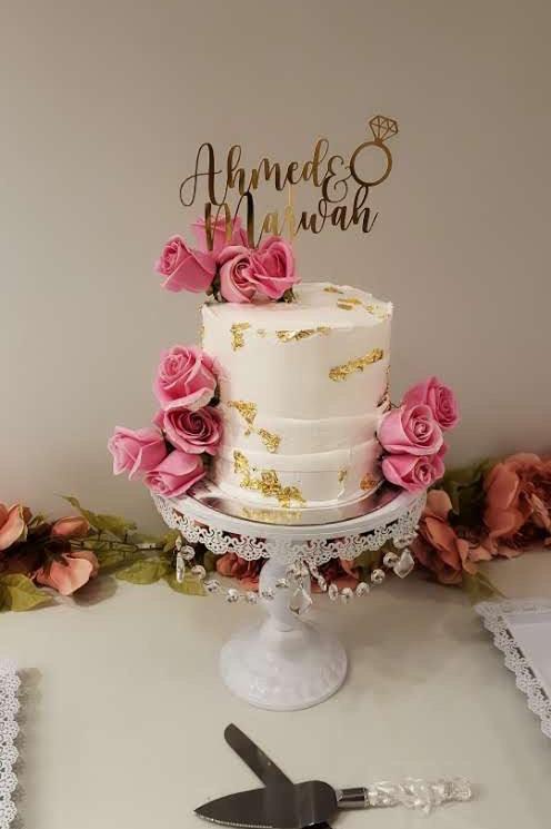 Tall white bridal cake