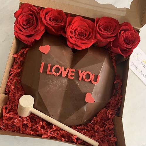 I Love You Chocolate Smash Cake + Roses