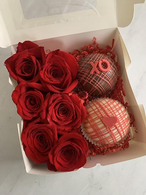 Hot Chocolate Sweet Box + Roses