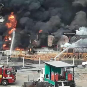 Incêndio nesta terça-feira atinge tanques da Pedreira Basalto em Campinas