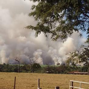 Bombeiros combatem incêndio em Uberaba