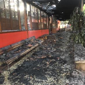 Incêndio atinge restaurante Leite ao Pé da Vaca na BR-040