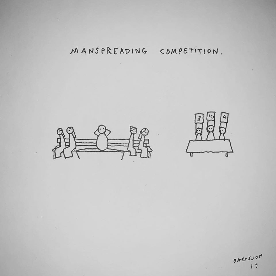 Man Spreading Competition by Hugleikur Dagsson