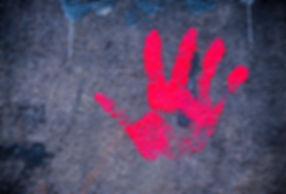 Red hand on wall in Belgrade