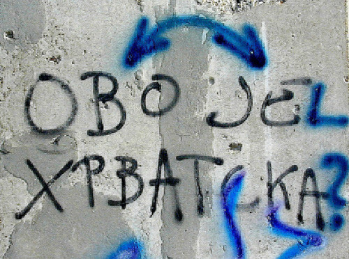 """""""Ovo je Hrvatska?"""" This is Croatia/Is this Croatia? the writing on the wall in Vukovar in Slavonia said in 2002."""