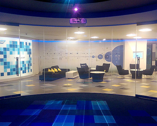 Privacy smart glass curved partition for SAP