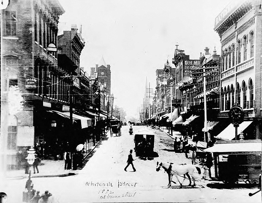 Looking-South-on-Whitehall-Street-with-Alabama-Street-Crossing-in-1882-Georgia-State-University-Libr