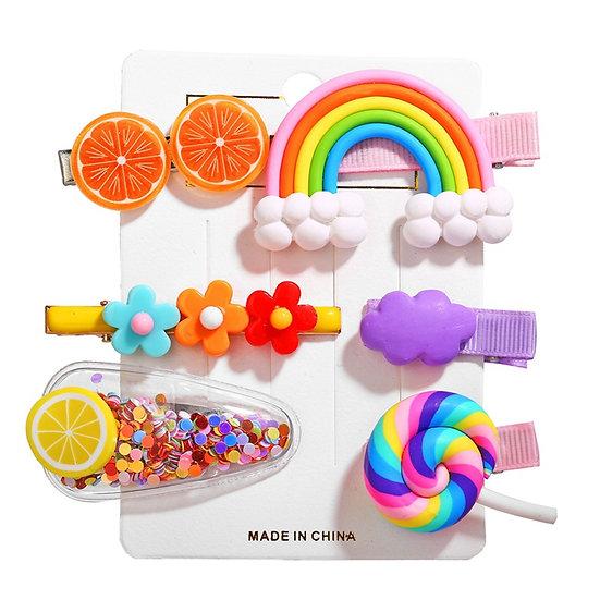 3Pcs Lollipop Rainbow Hairpins Hair Clips