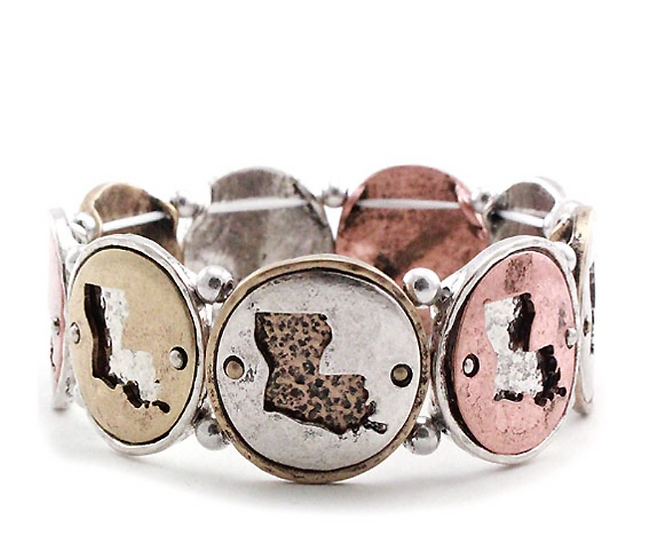Lousiana State Map Stretchable Bracelet