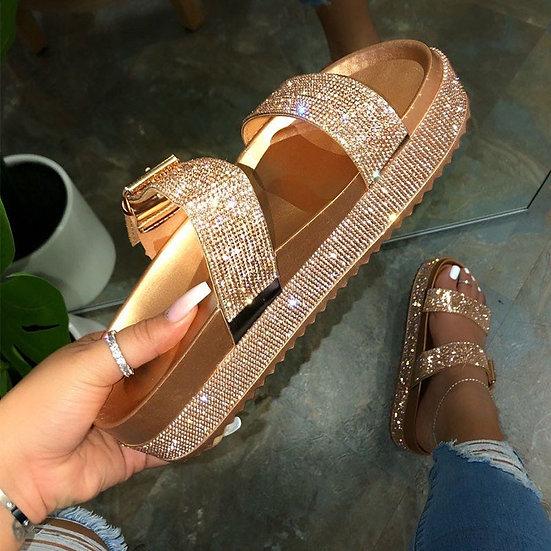 Buckle Rhinestone Sandals