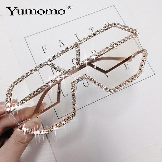Luxury Rhinestone Sunglasses Women Oversized Square Sun Glasses Brand Designer