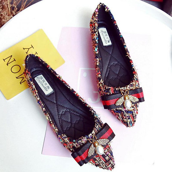 Rhinestone Quilted Flats
