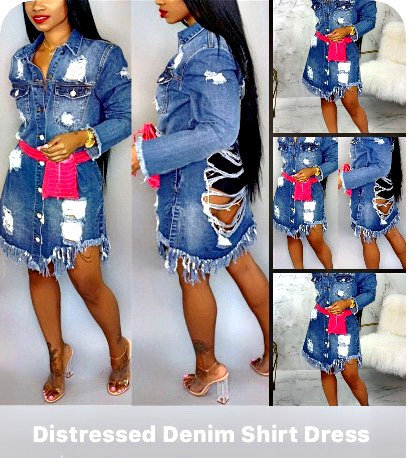 Denim Distress Jacket Dress