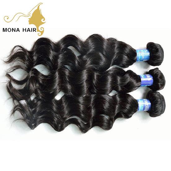 100% Brazilian Mink Human Hair Loose Wave Bundles With Closure and 4 Bundle